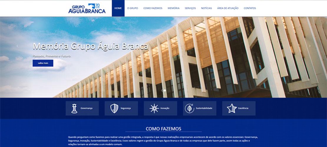 Site para Case Gestão de Projetos Digitais Grupo Águia Branca - Aldeia Conteúdo