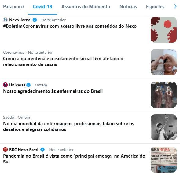 """Aba do Twitter """"Covid-19"""""""